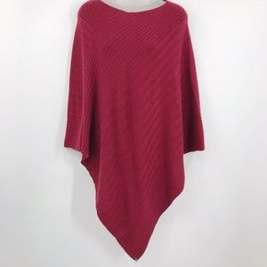 Beryll 100% Cashmere Ribbed Knit Poncho Red Soft